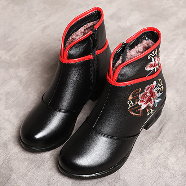 Women Embroidery Chunky Heel Genuine Leather Boots