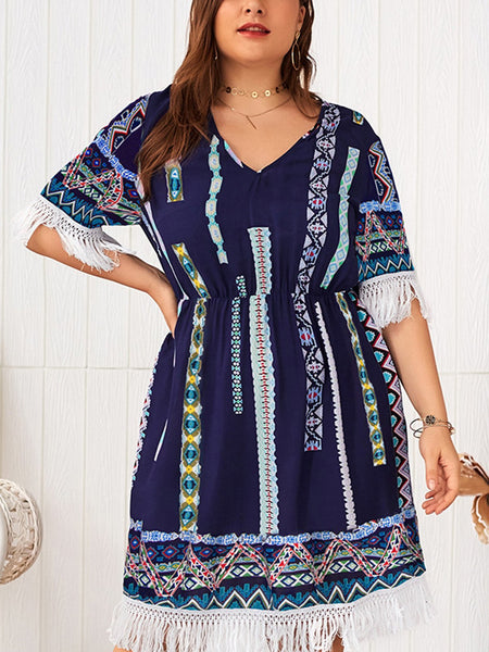 Plus Szie V Neck Shift Daily Tribal Midi Dress