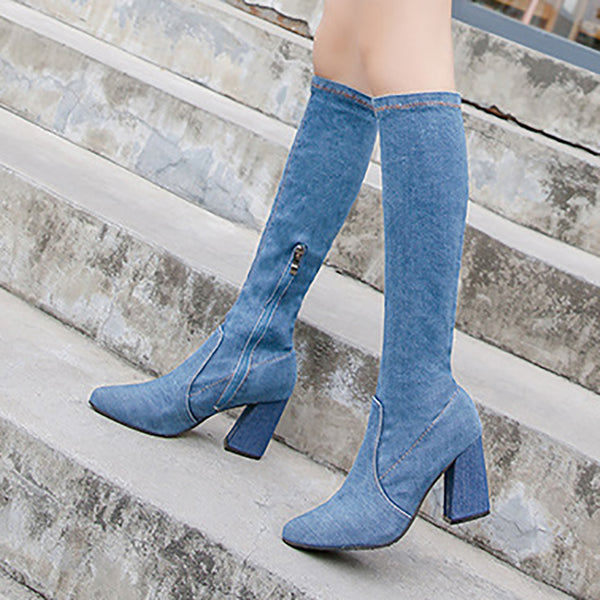 Chunky Heel Denim Winter Round Toe Cowboy Boots