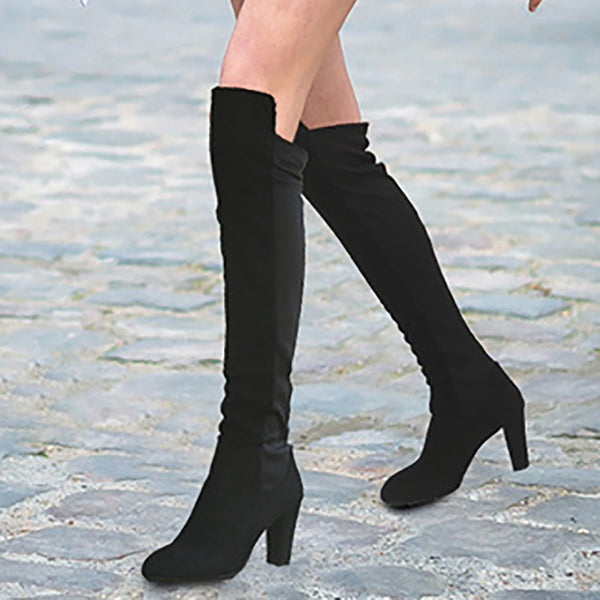 Panel Color Block Chunky Heel Boots Daily Suede Shoes