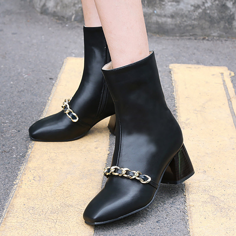 Chunky Heel Metal Chain Square Toe Boots