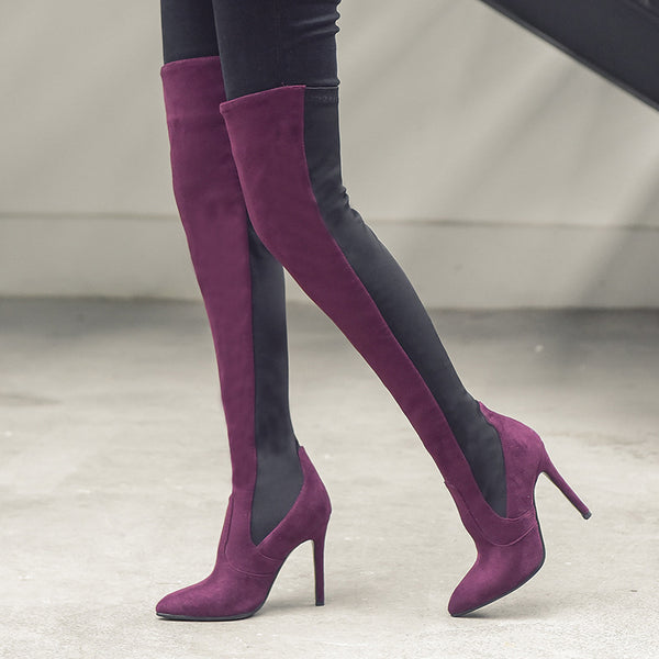 Women Date Panel Suede Pointed Toe Boots