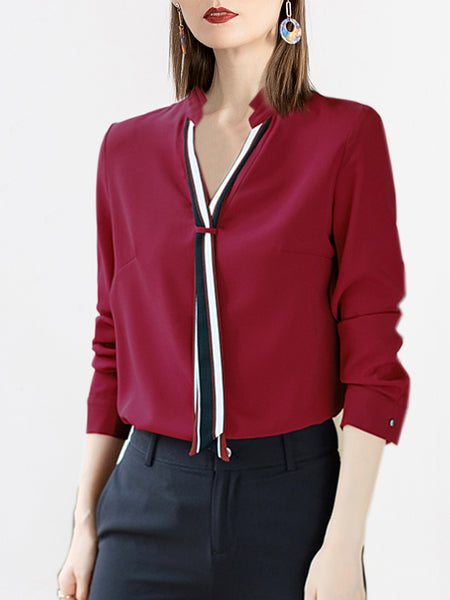 Solid Shift V Neck Casual Blouse