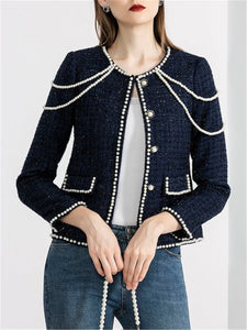 Dark Blue Casual Beaded Cropped Jacket
