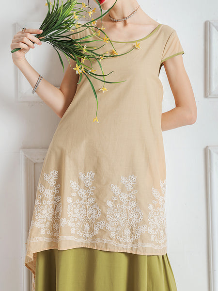 Graphic Paneled Casual Linen Dress