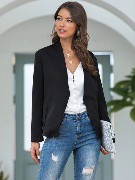 Black Casual Pockets Outerwear