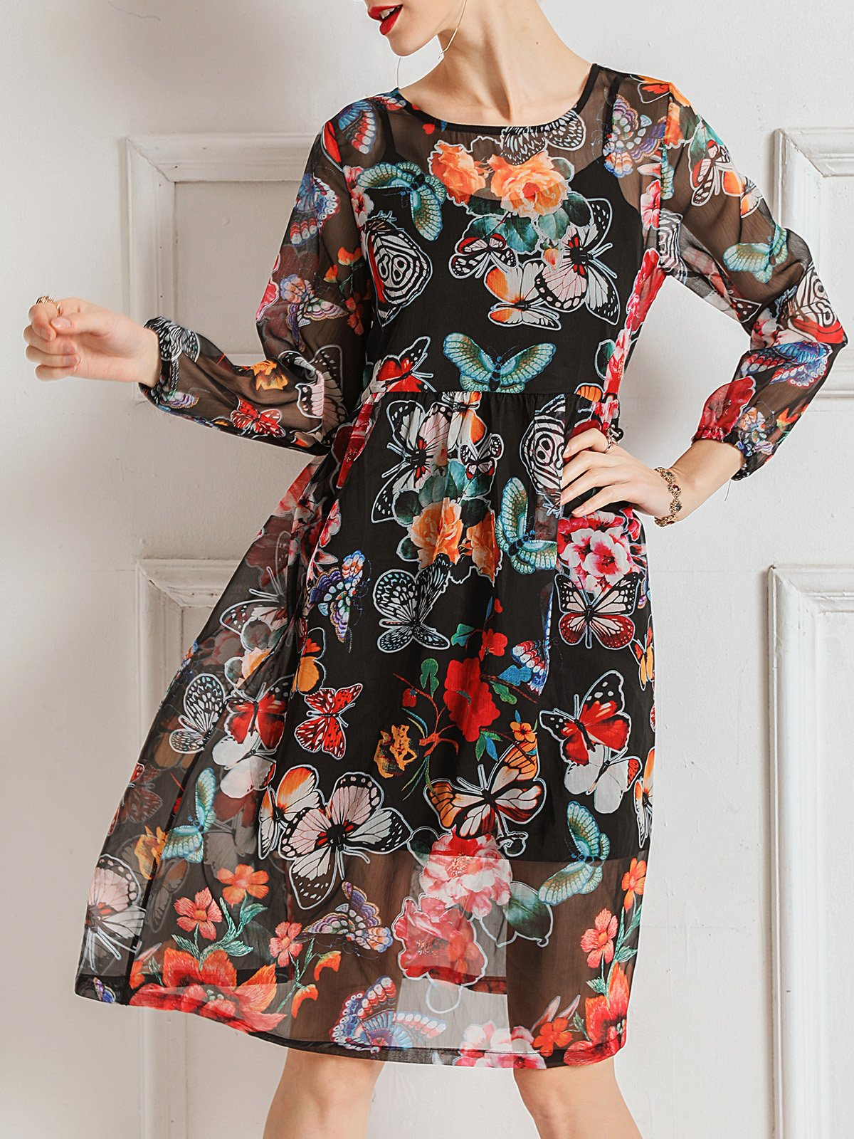 Floral Printed Daytime Casual Midi Dress