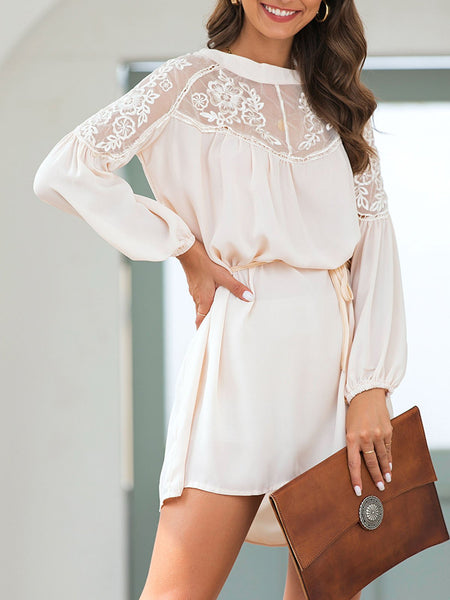 Beige Casual Paneled Shift Floral Dresses