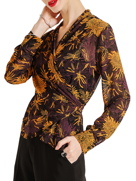 Yellow V Neck Sheath Floral Elegant Shirts & Tops