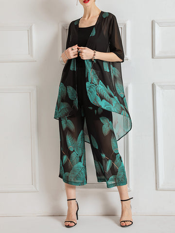 Leaves Printed Casual Three-piece Set