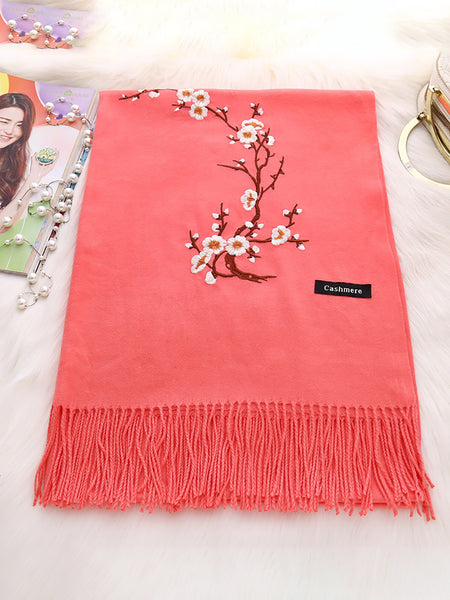 Floral Cashmere Embroidery Scarves