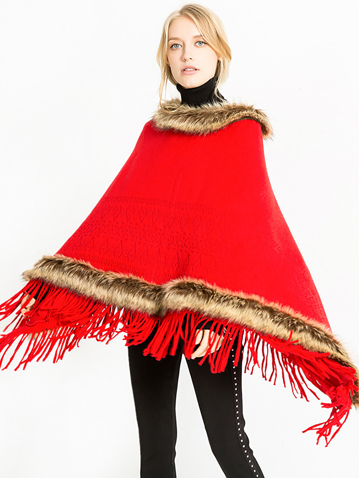 Solid Elegant Fluffy Christmas Shawl