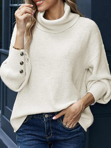 Casual Long Sleeve Buttoned Turtleneck Sweater