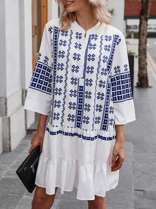 White Dresses A-Line Daily Geometric Midi Dress