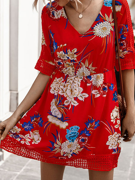 Holiday Printed Floral Dresses