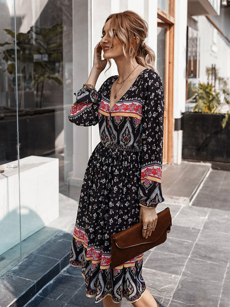 Black Holiday Printed V Neck Cotton Dresses