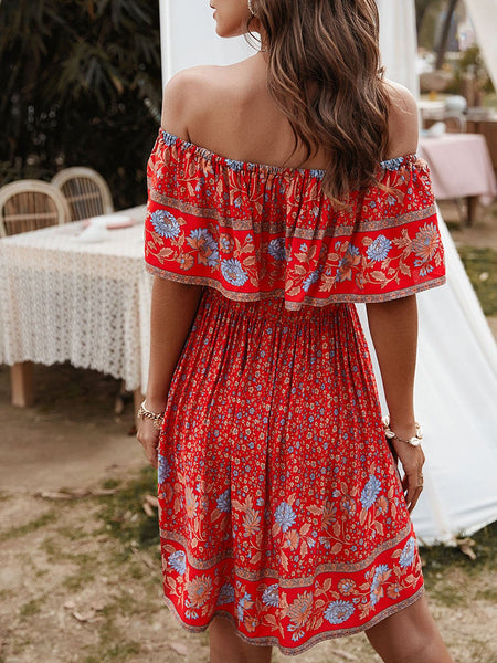 Floral Printed Holiday Mini Dress
