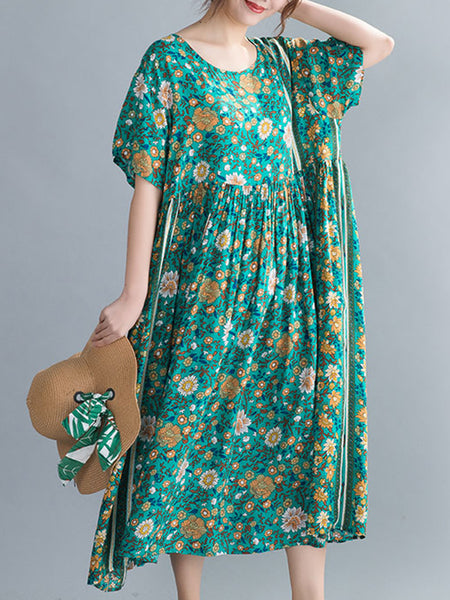 Floral Printed Holiday Linen Sun Dress