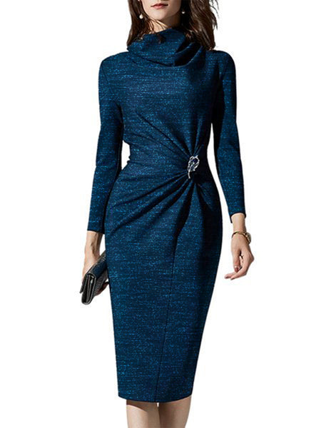 Cowl Neck Bodycon Elegant Work Midi Dress