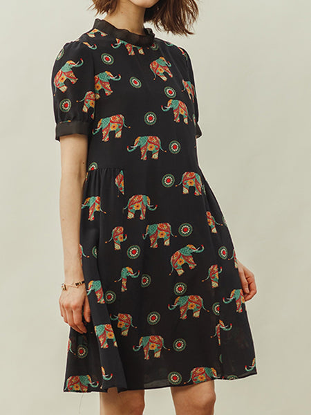 Stand Collar Shift Daily Animal Casual Midi Dress
