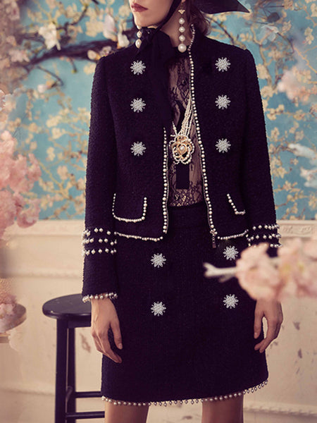 Stand Collar Elegant Solid Beaded Jacket