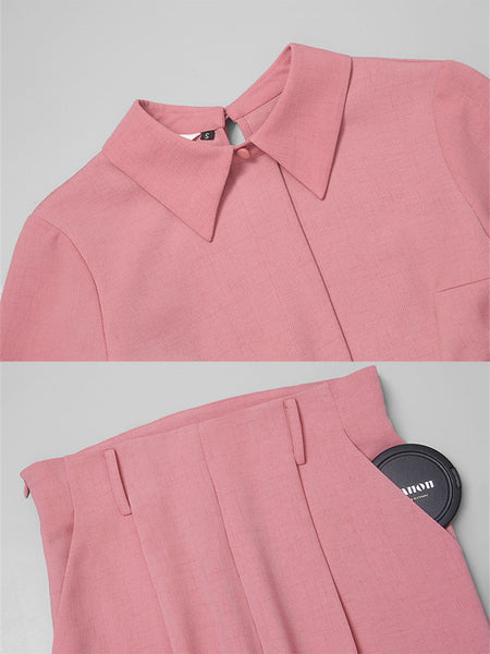 Pink Paneled Short Sleeve Solid Shirt Collar Suits