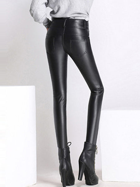 Black Casual Solid PU Skinny Leg Pants