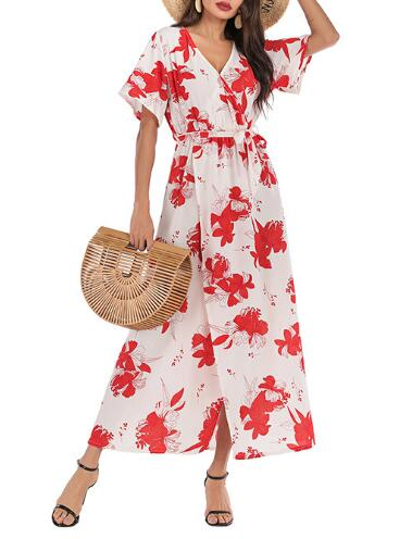 Red Floral Surplice Neck Short Sleeve Printed Dresses