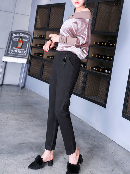 Casual Pockets Solid Straight Leg Pants