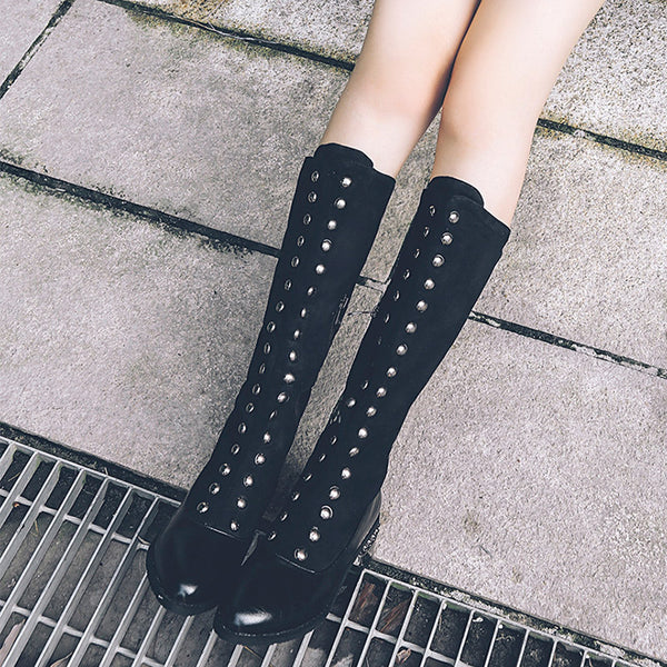 Vintage Black Low Heel Suede Panel Daily Boots