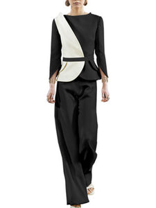 Paneled Elegant Top With Pants Two-piece Set