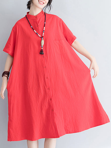 Slit Pockets Shift Casual Linen Sun Dress