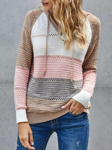 Casual Knitted Shift Long Sleeve Hoodie Sweater