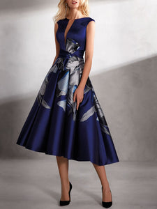 Asymmetric Printed A-Line Prom Elegant Midi Dress
