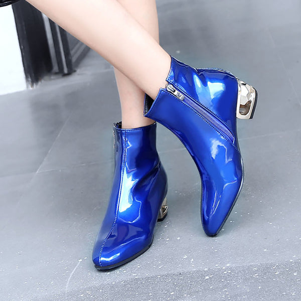 Round Toe Blue Low Heel Pu Ankle Boots