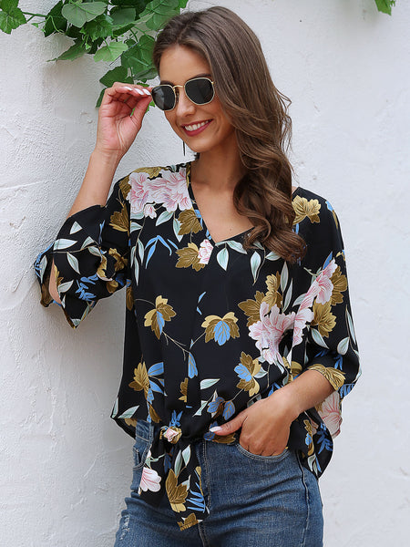 3/4 Sleeve Holiday Floral V Neck Shirts & Tops