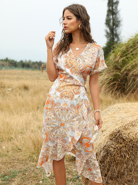 Orange Holiday Shift Surplice Neck Dresses