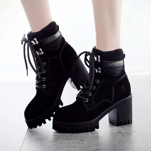 Daily Spring/fall Lace-Up Suede Boots