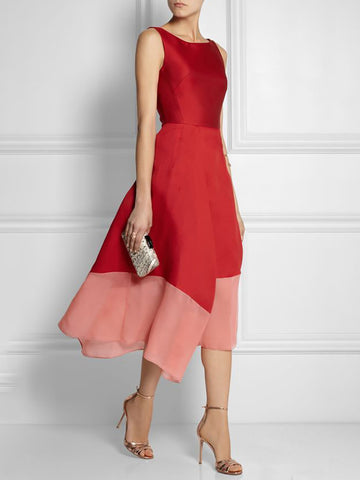 A-Line Elegant Paneled Midi Dress