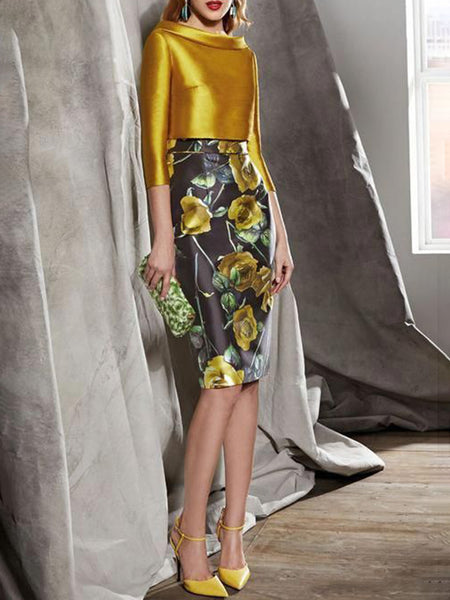 Elegant Bodycon Floral-Print Top With Skirt Set