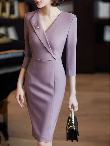 Surplice Neck Sheath Elegant Midi Dress