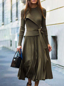 Elegant Pleated Top with Skirt Two-Piece Set