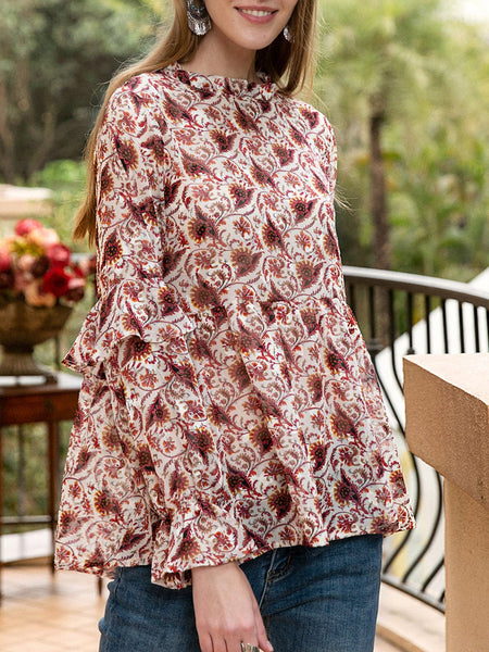 Women Floral Romantic Crew Neck Chiffon Blouse