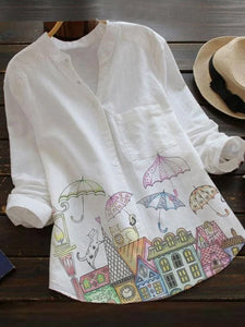 White Shirt Collar Cotton-Blend Sweet Shirts & Tops