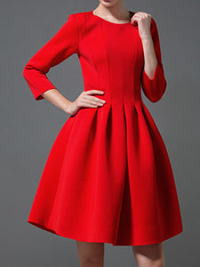 Red A-line Elegant Midi Dress