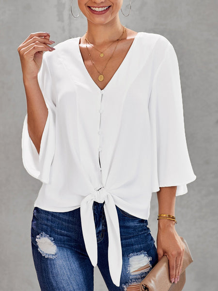 White Solid Simple Casual Shirt & Top