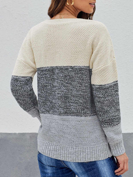 Stripes Crew Neck Long Sleeve Sweater