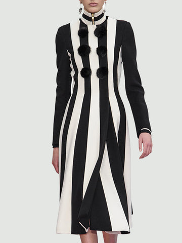 Turtleneck Color-block Date Solid Elegant Midi Dress