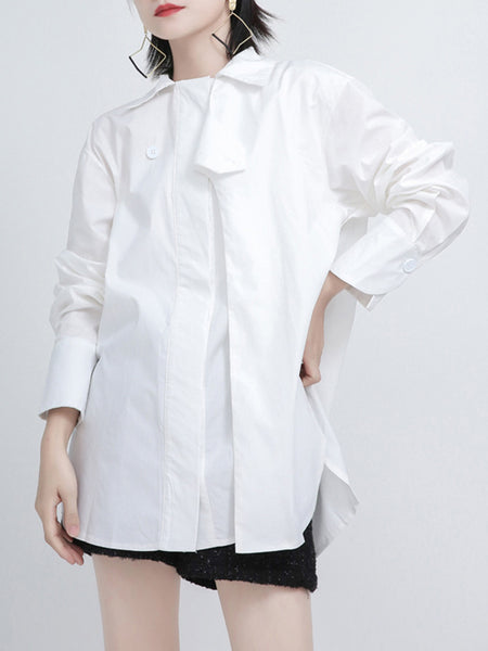 Solid Shift Work Casual Blouse