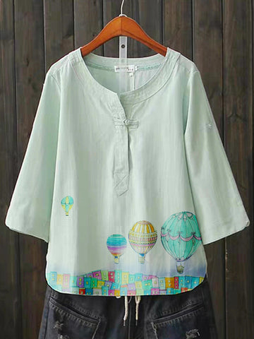 Green Short Sleeve Cotton-Blend Shirts & Tops